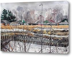 Картина Весна в деревне