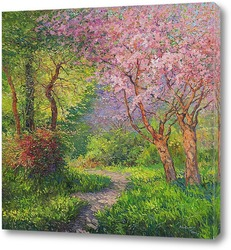 Пейзаж с цветущем деревом...