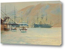 Французский фрегат у берегов французской Ривьеры