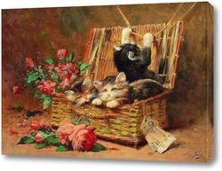 Постер Корзина кошек