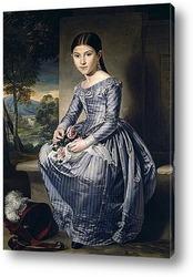 Постер Сидящая девушка на фоне пейзажа