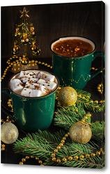 Постер Горячий шоколад с зефиром ,елочкой и елочными шарами