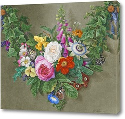 Постер Гирлянды из цветов с бабочками