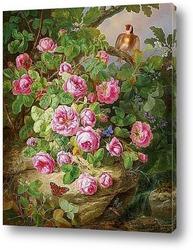 Картина Большие розы.Натюрморт с бабочками и птицами