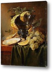 Натюрморт с устрицами и виноградом