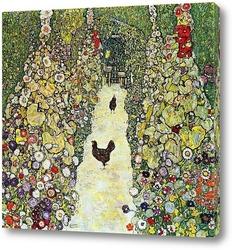 Садовая аллея с курицами
