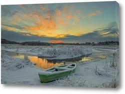Постер Закат солнца зимой у реки
