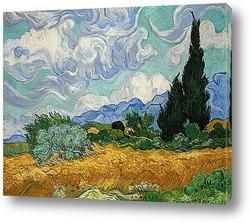 Постер Пшеничное поле с кипарисами