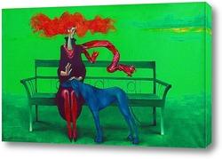 Постер Крсный шарф и голубая собака