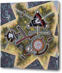 Картина композиция в серо-оливковом