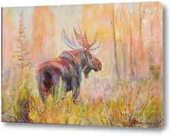 Картина Лось и золотая осень.