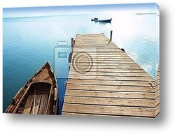 Albufera lake wetlands pier in Valencia Spain