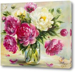 Картина Розовые и белые пионы