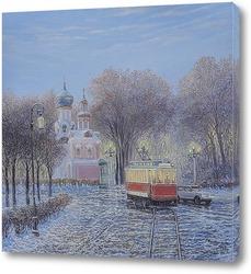 Картина Трамвай  городских огней...2017..