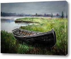 Картина Старая лодка на берегу