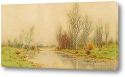Постер Осенний речной пейзаж