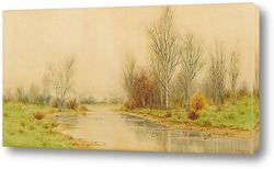 Картина Осенний речной пейзаж