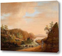 Обширный пейзаж с водопадом, домашним скотом и церковью в фоново