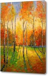 Картина Осенний закат в лесу