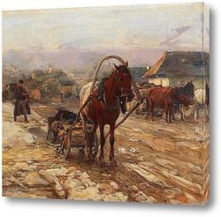 Постер Лошадь и повозка на деревенской улице