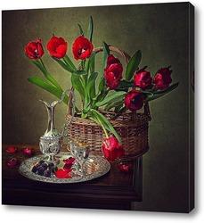 Постер Натюрморт с красными тюльпанами