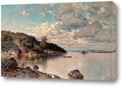 Sunset.Boat on coast.HDR.