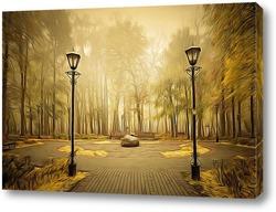 Sunbeams in forest, sunrays