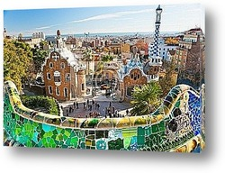 Постер Park Guell in Barcelona, Spain.
