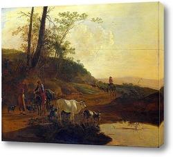 Путешественники на Понте Лукано над Анио в Тиволи