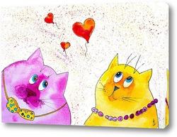 Картина Влюбленные коты