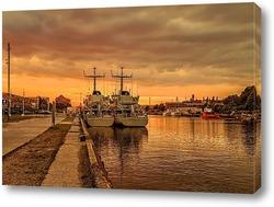 Постер корабли в порту