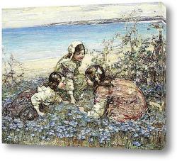 Цветочный фон с акварельными цветами