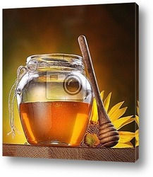 Постер Honey in a glass jar and flower sunflower
