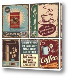 Постер Старинные плакаты кофе и металлические знаки