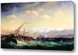 Захват форта Сан Хуан в Мексике французским флотом, под командов