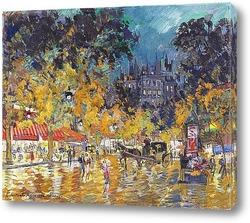 Картина Ночная сцена в Париже