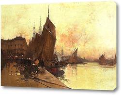 Картина Разгрузка рыбы, порт Диппе