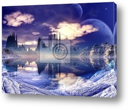 Постер Futuristic Alien City in Winter Landscape