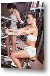 Постер Women doing exercise in gym center