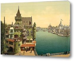 Постер Древний Париж и перспективы мостов, 1900, Париж, Франция