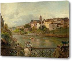Картина Вид с середины моста Рейн на Базельский собор. 1889