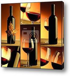 Постер Вино, бутылка, стекло, коллаж из винных составляющих