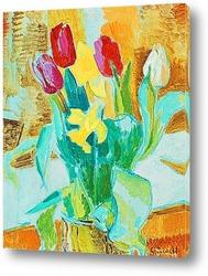 Постер Натюрморт с тюльпанами и нарциссами