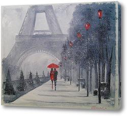 Картина В Париже выпал снег
