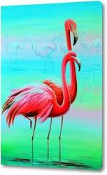 Постер Вечерние фламинго