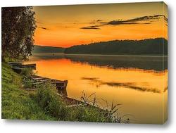 Постер Лодка на закате
