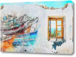 Картина Причал с лодками