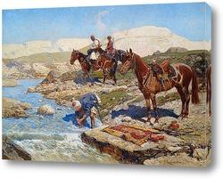 Черкесские всадники, пересекающие реку