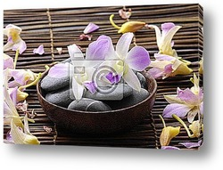 Bowl of water with orchid on pebbles