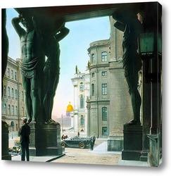 Постер Санкт-Петербург. Эрмитаж (Новый Эрмитаж) портик с атлантами